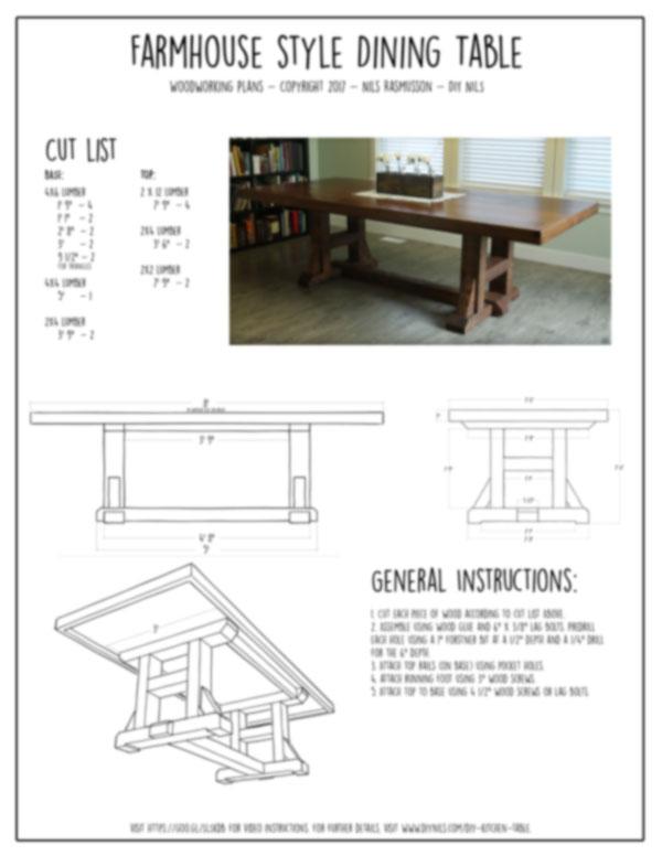 Farmhouse Kitchen Table Woodworking Plans